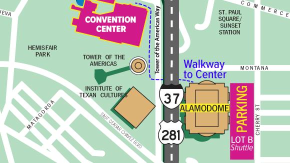 Alamodome Parking Shuttle Map